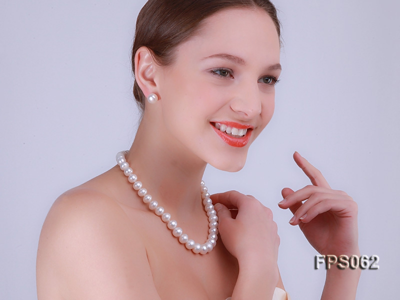 12-13mm AAA White Flat Freshwater Pearl Necklace and Stud Earrings Set