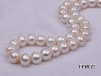 Classic12-13mm AAA White Flat Freshwater Pearl Necklace