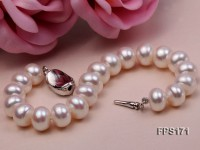 11-12mm AA White Flat Freshwater Pearl Necklace and Bracelet Set