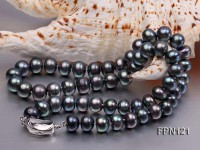 Classic 9-10mm Black Flat Cultured Freshwater Pearl Necklace