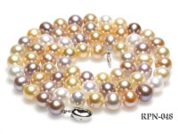 Super-quality 10-11mm AAA Multi-color Round Freshwater Pearl Necklace