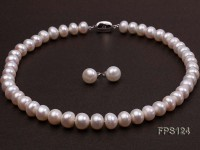 12-13mm AA White Flat Freshwater Pearl Necklace and Stud Earrings Set