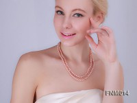 2 Strand Flat Pink Freshwater Pearl Necklace