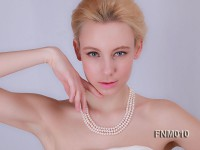 3 strand flatly white freshwater pearl necklace