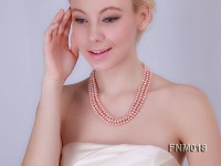 3 strand flatlypink to peach  freshwater pearl necklace