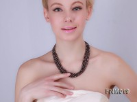 3 Strand Flat Black Freshwater Pearl Necklace