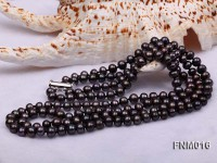 2 strand flatly black freshwater pearl necklace