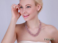 3 strand flatly  lavender freshwater pearl necklace