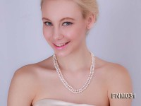 7-8mm 2 strand flatly white freshwater pearl necklace