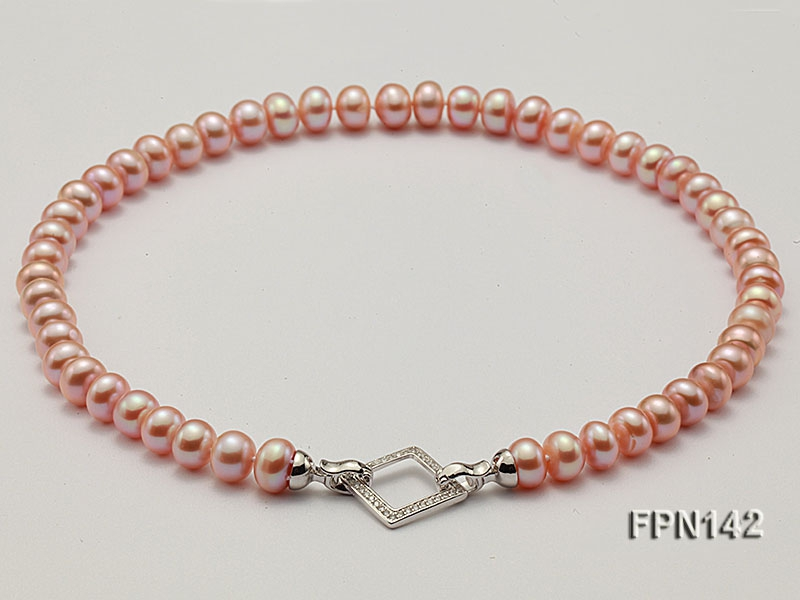 Classic 9-10mm AAA Pink Flat Cultured Freshwater Pearl Necklace
