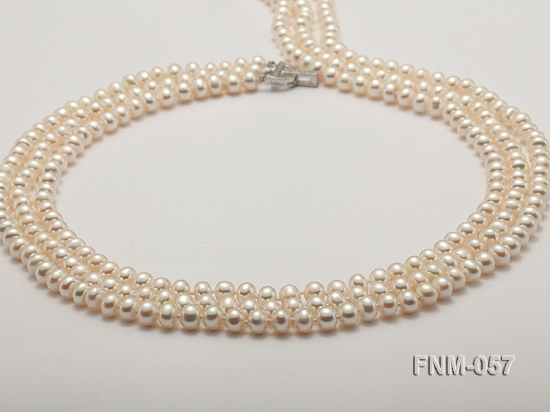 7mm High Quality Flatly Round Pearl Necklace with Stering Silver Clasp