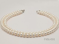 9-10mm High Quality Flatly Round Pearl Necklace with Stering Silver Clasp