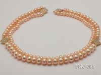 High Quality Flatly Round Freshwater Pearl Opera  Necklace