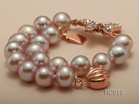 9-10mm Round Lavender Pearl Bracelet with Zircon Accessory