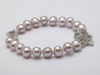 8-8.5mm Round Lavender Pearl Bracelet with Zircon Accessory