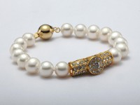 9-10mm Round White Pearl Bracelet with Zircon Accessory