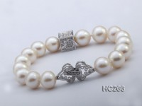 10-11mm Round White Pearl Bracelet with Zircon Accessory