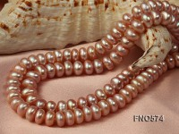 6-7mm High Quality Flatly Round Freshwater Pearl Opera Necklace