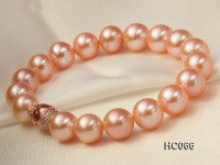 10-11mm AAA pink round pearl bracelet