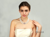 10-11mm AAA round pearl three-row necklace with sterling silver clasp