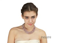 10-11mm AAA Natural Lavender Pearl Three-Row Necklace with Sterling Silver Clasp