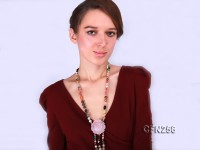 Beautiful Crystal and Agate Opera Necklace with Tassle