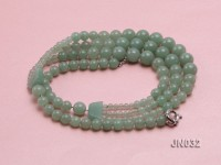 Beautiful Three-Row 8.5-12mm Aventurine Jade Necklace