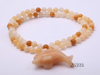 Yellow Jade Necklace with Dolphin Pendant