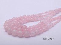8-12mm Round Rose Quartz Beads Necklace