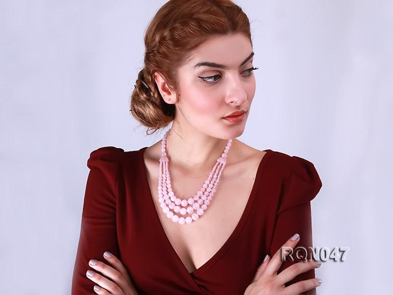 8-12mm Round Rose Quartz Beads Necklace