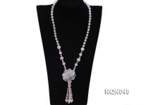 8mm Round Rose Quartz Beads Necklace with a Flower-Shaped Pendant