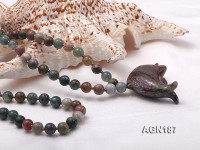 Moss Agate Opera Necklace with Dolphin Pendant