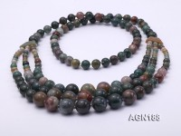 Beautiful Three-row Moss Agate Opera Necklace