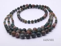Beautiful Three-row Moss Agate Opera Necklace