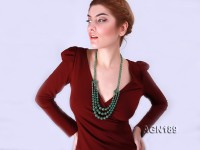 Beautiful Three-row Green Agate Opera Necklace
