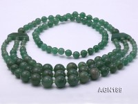 Beautiful Three-row Green Agate Opera Necklace