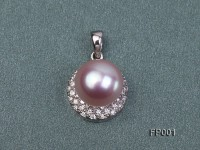 12.5mm Lavender Round Freshwater Pearl Pendant with a Gilded Pendant Bail