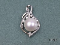 14.5mm White Round Freshwater Pearl Pendant with a Gilded Pendant Bail