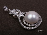 14.5mm White Round Freshwater Pearl Pendant with a Silver Pendant Bail
