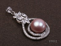 13mm Lavender Round Freshwater Pearl Pendant with a Silver Pendant Bail