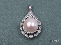 15mm White Round Freshwater Pearl Pendant with a Silver Pendant Bail