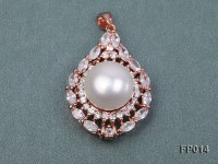 13.5mm White Round Freshwater Pearl Pendant with a Silver Pendant Bail