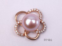 12mm Lavender Round Freshwater Pearl Pendant with a Gilded Silver Pendant Bail