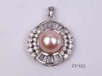 12mm Pink Round Freshwater Pearl Pendant with a Gilded Silver Pendant Bail