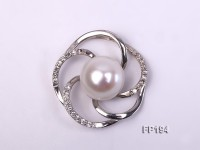 12mm White Round Freshwater Pearl Pendant with a Gilded Silver Pendant Bail