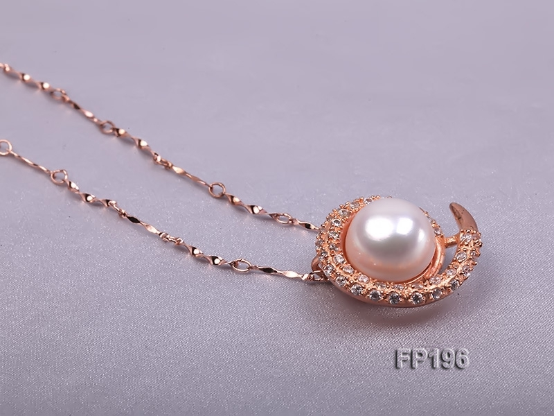 14mm White Round Freshwater Pearl Pendant with a Gilded Silver Pendant Bail