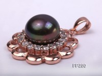 13.5mm Black Round Freshwater Pearl Pendant with a Gilded Silver Pendant Bail
