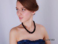 8-18mm black flat faceted agate necklace