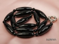 10.5x30mm black rice faceted agate necklace