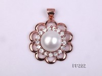 13.5mm White Round Freshwater Pearl Pendant with a Gilded Silver Pendant Bail